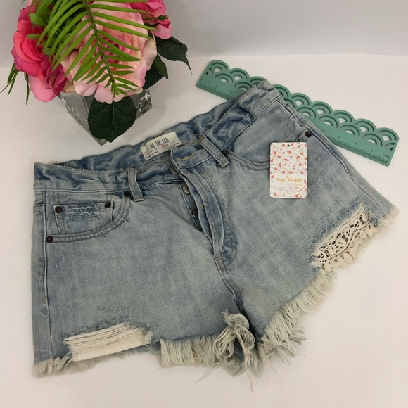 Free People Pants - Free People NWT Daisy Blue Lace Denim Jean Shorts